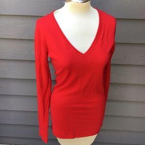true red BCBG cashmere deep V neck sweater S M
